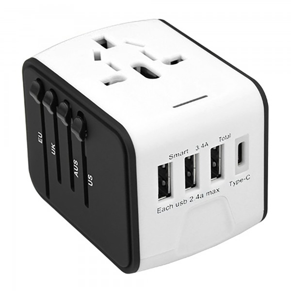 Adaptador viaje 3usb+type-c us/eu/aus/uk