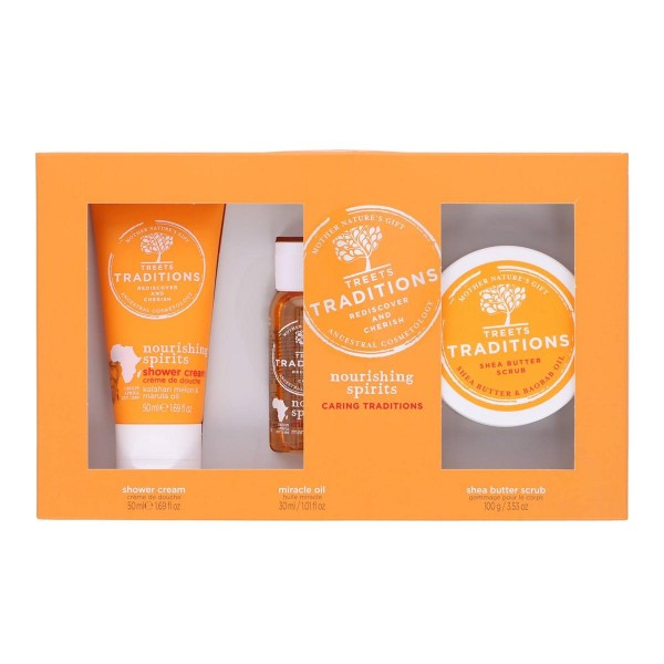 Treets traditions nourishing spirits shower cream 50ml + miracle oil 30ml + shea butter scrub 100gr
